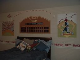 Our Houston muralist created a fun baseball themed room in Jersey Village, Texas. Kids'Wall painting
