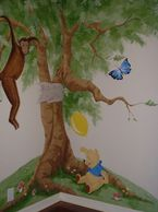 Custom designed wall mural painting in the Westchase area of Houston.  The mural painter created fun