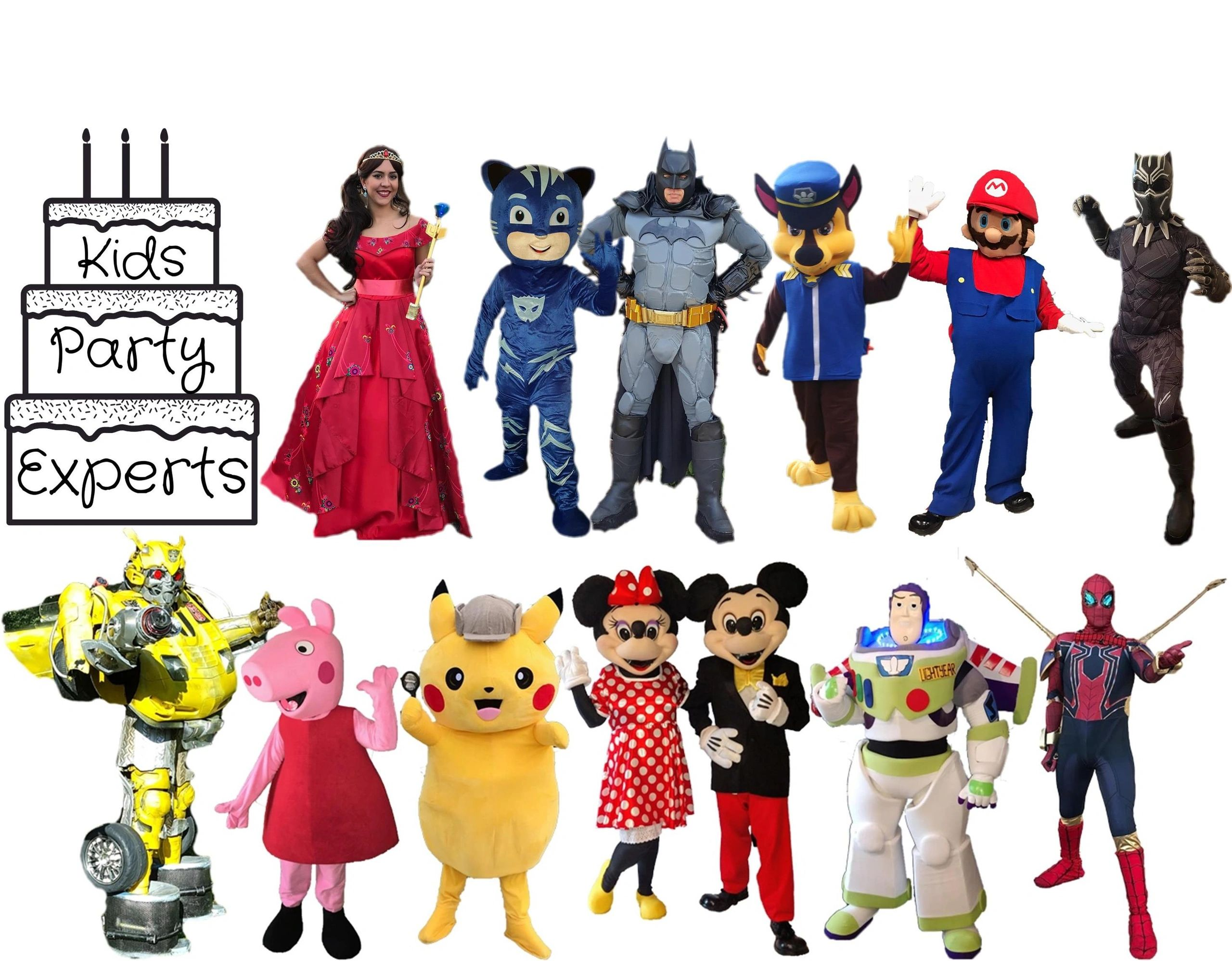 Kids Party for all your superhero characters, princess characters, & mascots.  Face paint & balloons