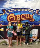 We bring 2 circus themed backdrops to your Houston birthday party . The other is a stage backdrop.