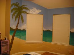 Residential wall mural of a peaceful beach scene for a teen girl's bedroom in Katy, Texas.