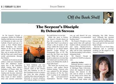 Deborah Stevens article in the Italian Tribune for The Serpent's Disciple
