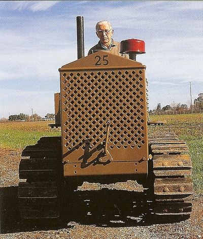 The elder Bill Bechthold on his restored Cletrac 25