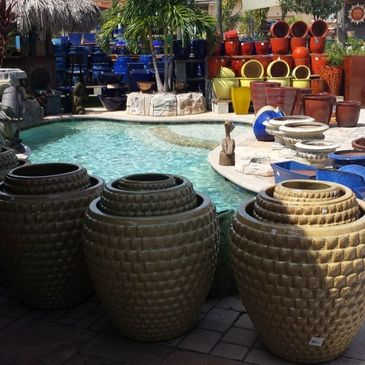 pottery, water features, fountains