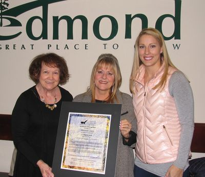 Cathy Williams, Maureen Coury presented by Character Council member Emoly Walters.