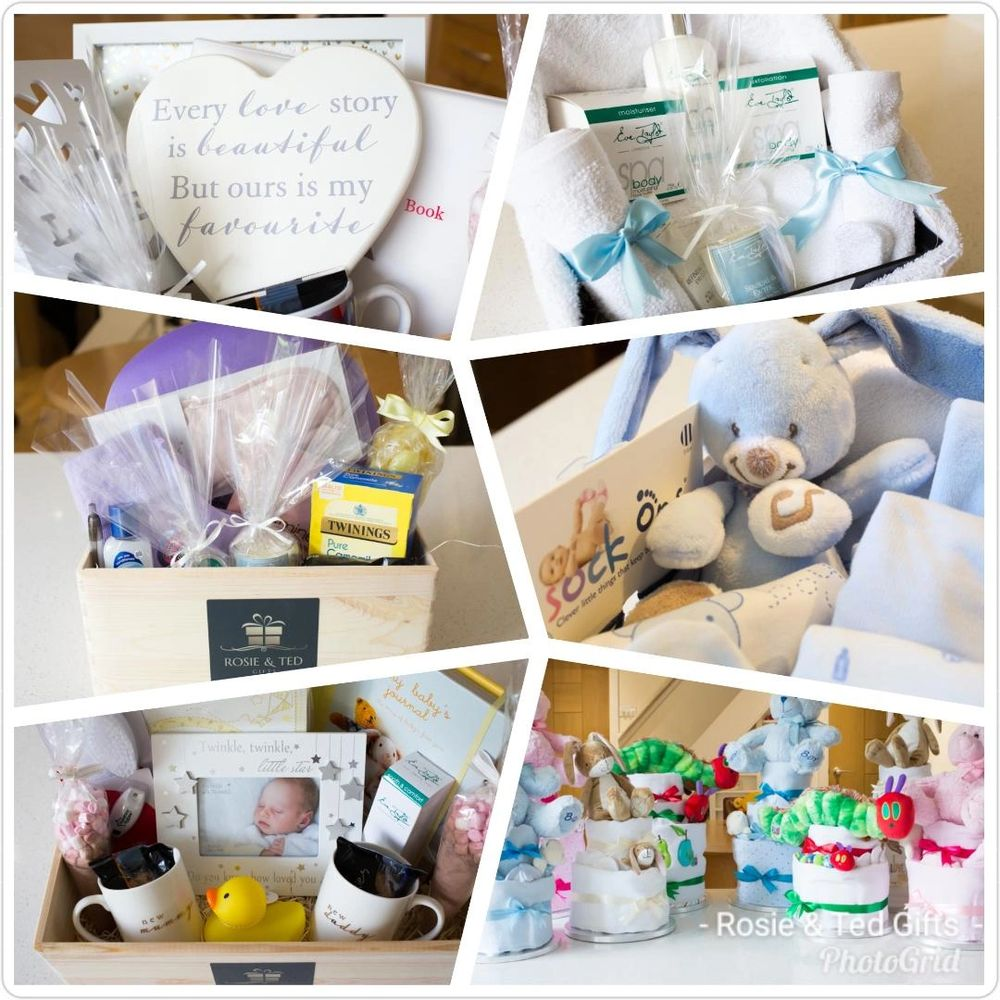 Rosie and Ted Gifts Home Page image of some of our gift hampers and Nappy Cakes