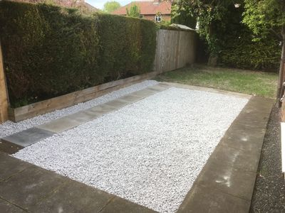 gravelled area in a back garden