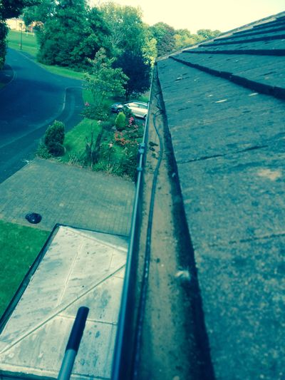 Gutter cleaning on a roof