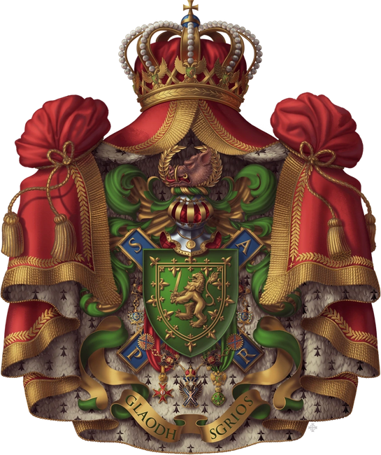 Coat of Arms for His Royal Highness, Douglas Bailey,  , Motto: Glaodh Sgrios (Cry Havoc)