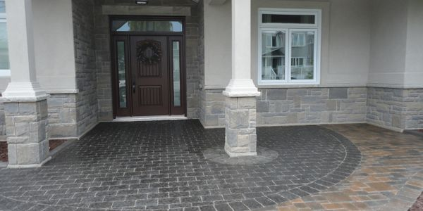 front yard entrance way expert interlock installation in Barrie landscaping Tough Oaks Landscaping