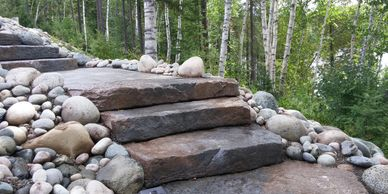 lakefront stone steps staircase landscaping services Tough Oaks Landscaping Barrie Innisfil Oro-Med