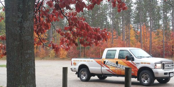 Tough Oaks Landscaping Company Barrie,Clean Branded Professional Landscape Contractor Truck, Red Oak Tree