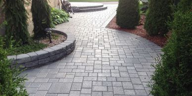 Tough Oaks Landscaping stone walkway stone patio garden bed Barrie Innisfil Oro-Medonte Springwater