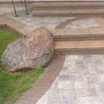 stone steps natural rock stone colour banding Tough Oaks Landscaping Co Contractor Barrie Landscaper