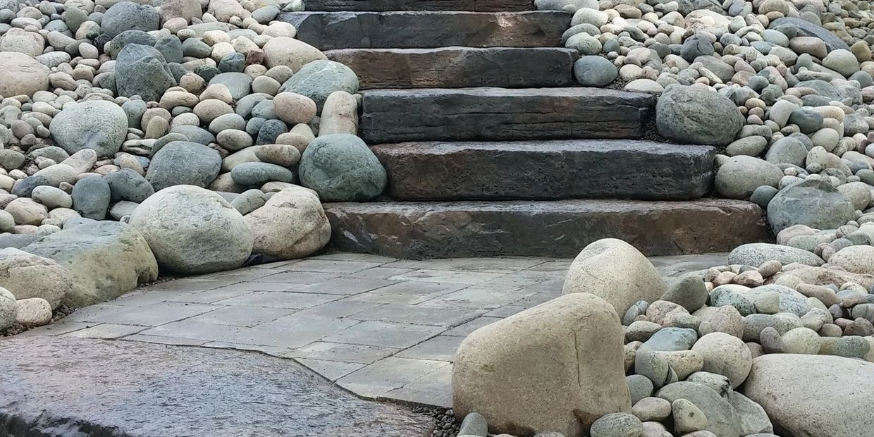 Barrie Lakefront landscaping  Tough Oaks Landscaping Company stone steps river rock  dockside access