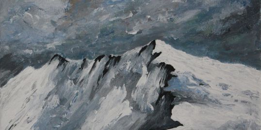 Aniela Designs: Original painting, Welsh mountains covered in snow in Winter. Moody skies.