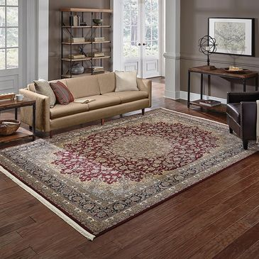 OW-90R Garnet Red/Black/Ivory Design; Masterpiece Collection; Traditional Style Rugs; Machine-Woven