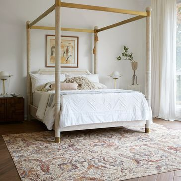 PB-03 Ivory/Multi Design; Porcia Collection; Transitional Style Rugs; Power-Loomed