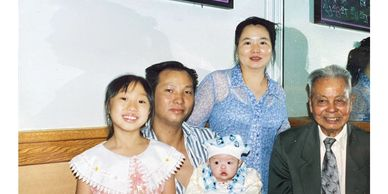 Photo of Liang family at Hop Woo Chinese Restaurant in Chinatown