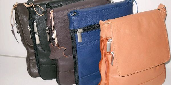 Expandable Leather Cross body bag
