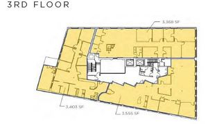 Three third floor floor plans for lease starting from 3,368 sq. ft. to 3,555 sq. ft.