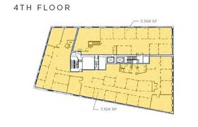 Two fourth floor floor plans for lease including one at 3,368 sq. ft. and one at 7,324 sq. ft.