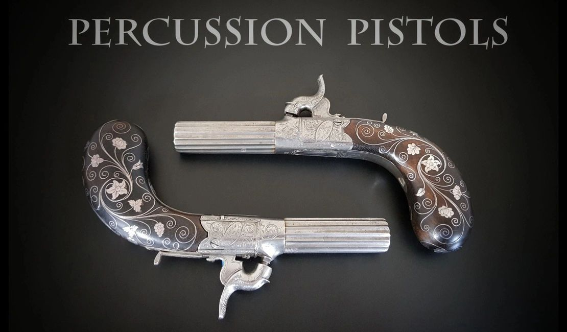 Travelling pistols by Royal Scottish Gunmaker with ribbed turn off barrels folding triggers