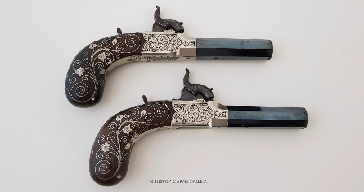 Pair of Silver Mounted Pistols by Harvey of Plymouth