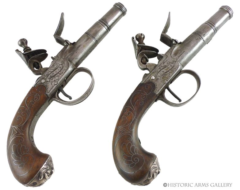 Pair of Small Queen Anne Cannon Barrelled Flintlock Pocket Pistols by Royal Gunmaker Parkes, London