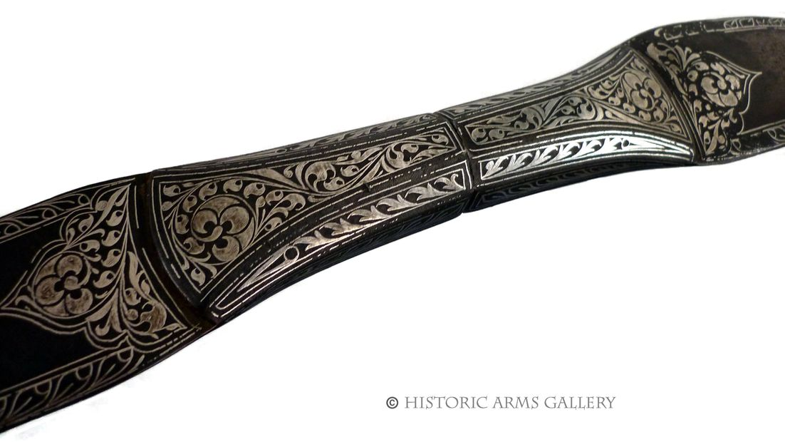 Damascus Steel Indo-Persian bow with Silver Koftgari decoration
