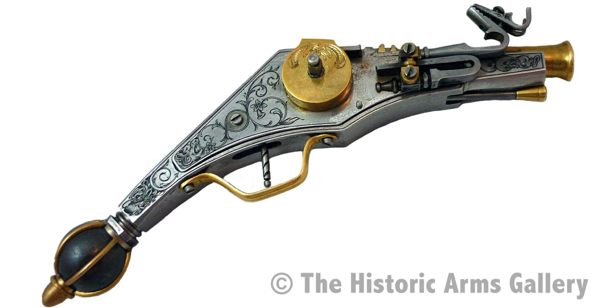 Fine steel and brass Miniature Wheel Lock Puffer Pistol with superb engraving