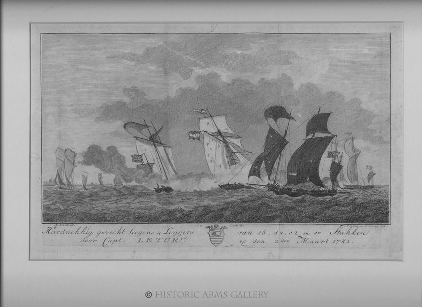 Engravings depicting naval actions involving Captain Le Turc during the fourth Anglo Dutch War