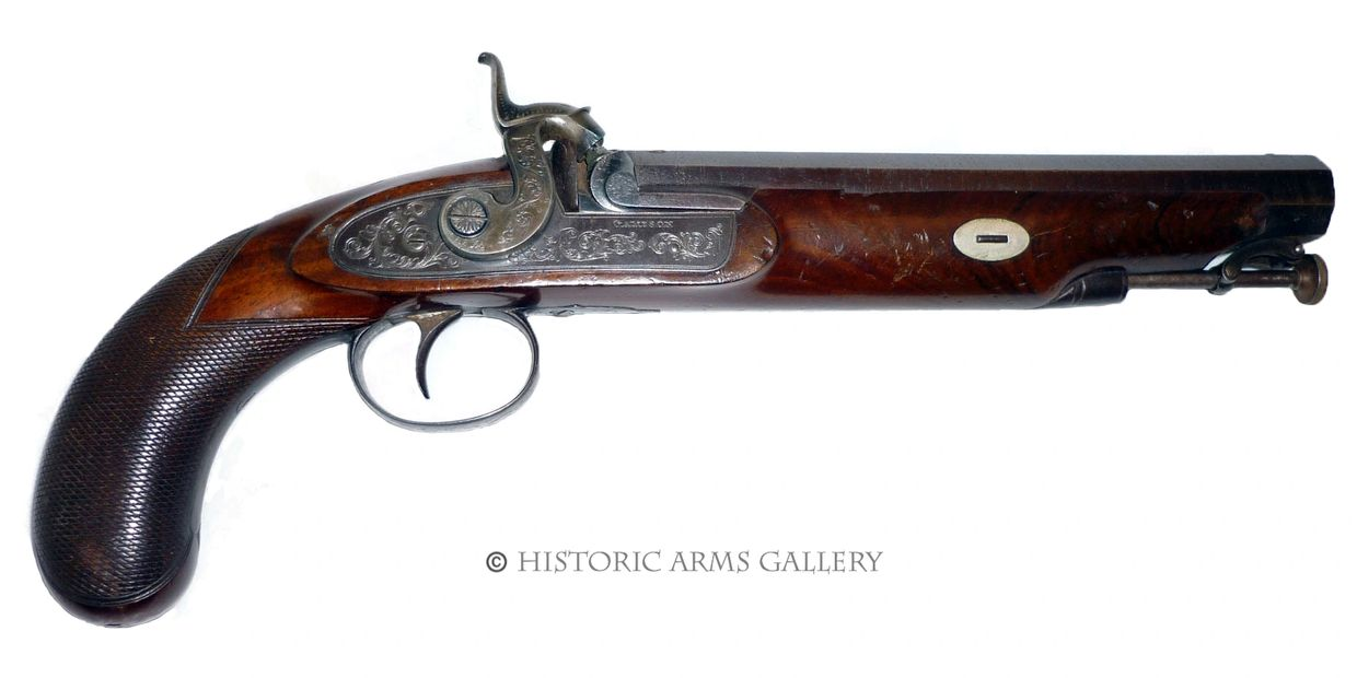 Shooting Prize Presentation Surrey Yeomanry Cavalry Officers Percussion Pistol by Gameson of London