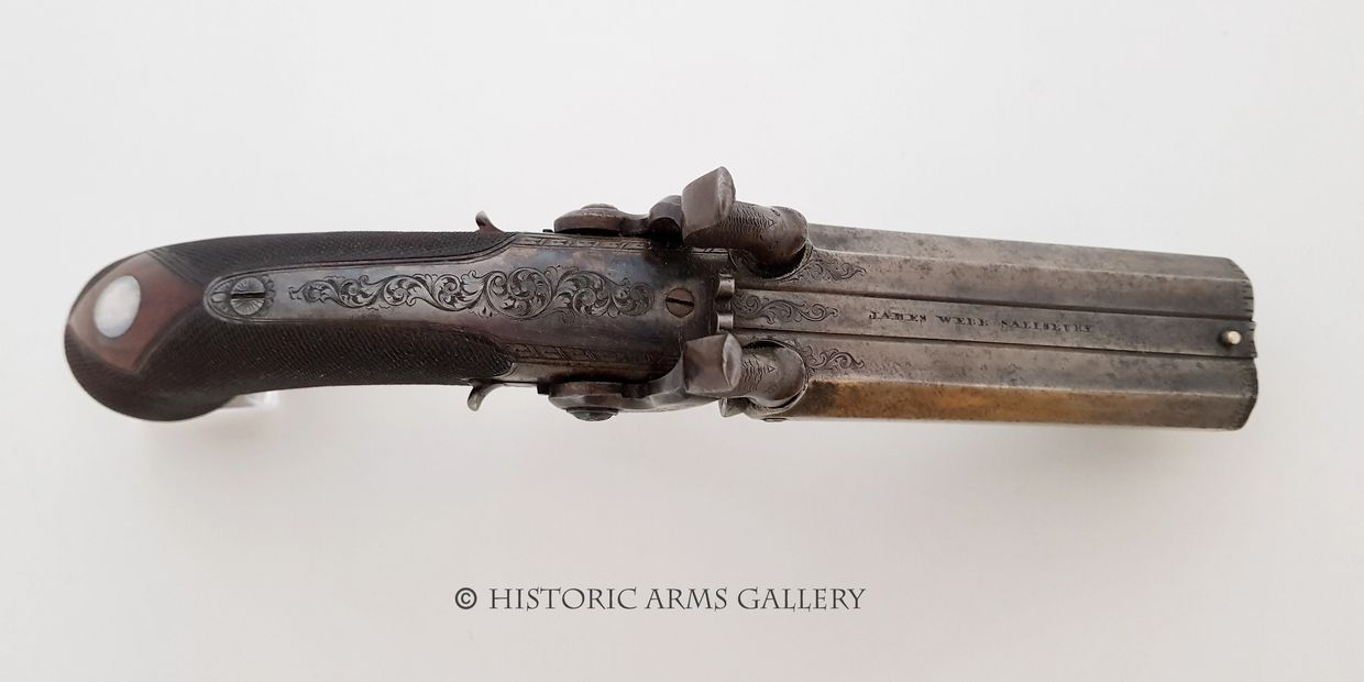 A Fine Quality 54 Bore Double Barrelled Percussion Travelling Pistol by James Webb of Salisbury