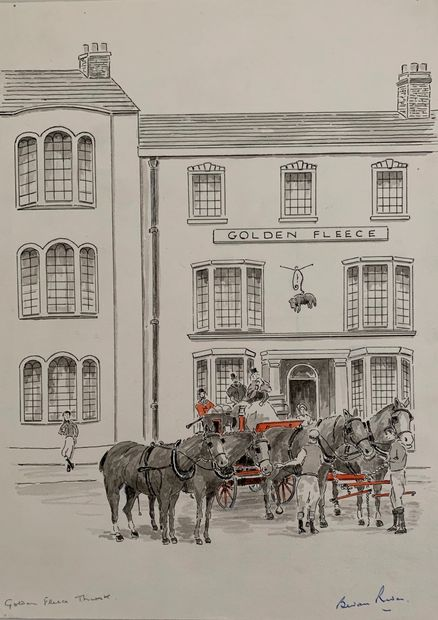 Original Signed Watercolour Painting by Bevan Rider of Golden Fleece Coaching Inn, Thirsk, N. Yorks