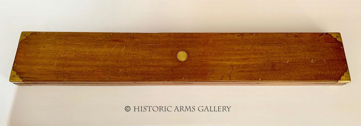 A RARE AND LONG OAK CASE FOR AN ADAMS REVOLVING RIFLE (OR SIMILAR) WITH ORIGINAL ADAMS LABEL