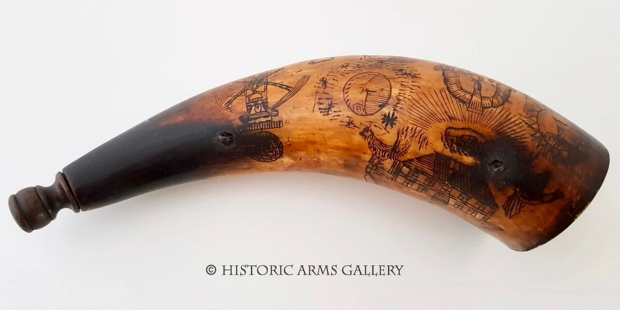 Rare 17th/18th Century Scrimshaw Powder Horn Flask decorated with Masonic symbols and images