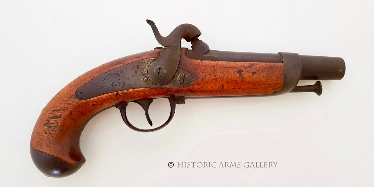 A Good French Model 1842 Percussion Gendarme pistol dated 1845