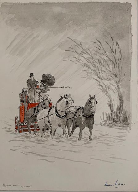 MAIL COACH - ORIGINAL SIGNED WATERCOLOUR PAINTING by BEVAN RIDER of MAIL COACH IN FLOODS NEAR NEWARK