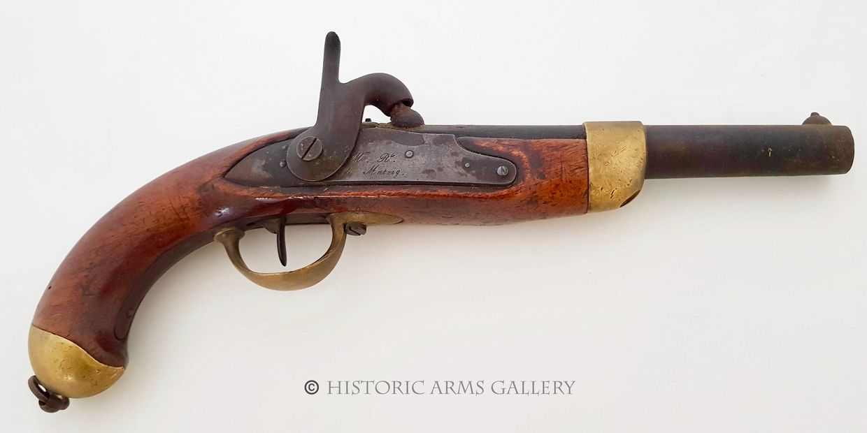 French Model 1822 Percussion Service Pistol made at the Manufacture Royale de Mutzig
