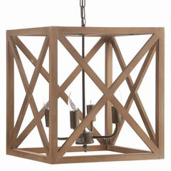 This square chandelier has a wood frame with x-shaped crossbars on each side. It is simple and yet e