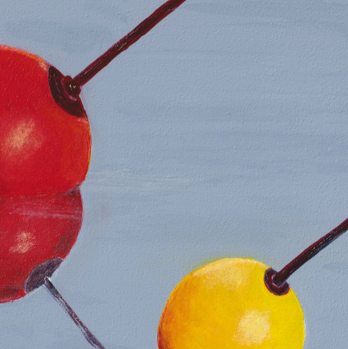 Round Buoys© Acrylic Painting by Darlene G. of 3 bright round buoys floating suggest tied to boats