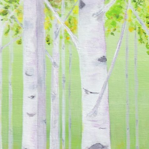 Welcome Spring!© Acrylic Painting by Darlene G. Birch Trees, leaves budding to welcome in spring