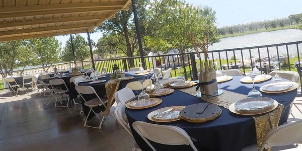 Patio at Cain's Cove set up for a wedding reception.  San Angelo Texas