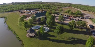 Aerial view of lake Nasworthy and Cain's Cove Wedding Venue