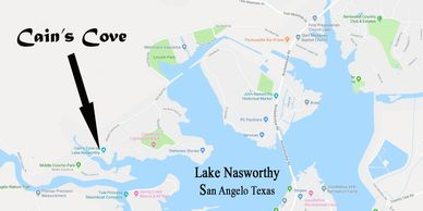 Driving Directions and map of Lake Nasworthy & Cain's Cove