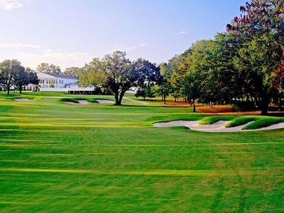View of the Golden Hills Country Club House from the 18th tee box of Ocala National Golf course