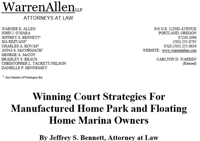 Winning Court Strategies: Oregon Manufactured Home Parks