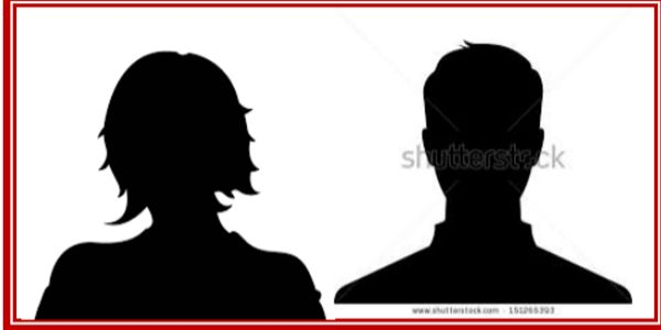Silhouette of a male and female
