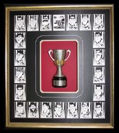 Collingwood cup surrounded by players cards
